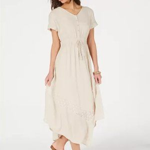 Style & Co Eyelet Handkerchief-Hem Maxi Dress